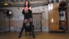Glass dildo ripped pantyhose, Miss Hybrid in the Manor dungeon.