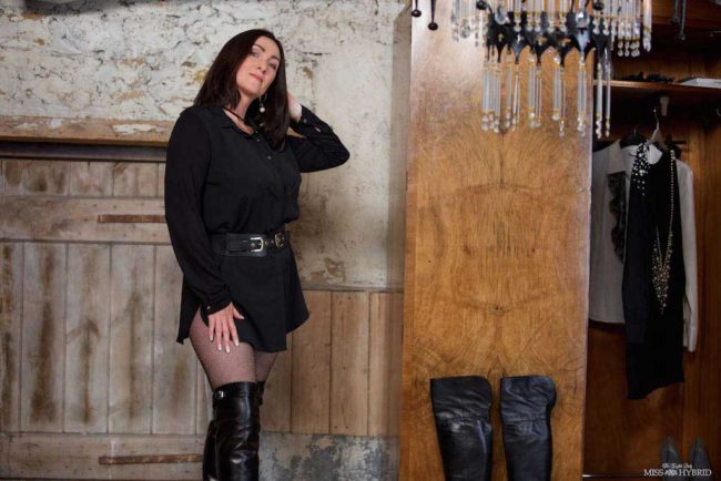 Miss Hybrid Ralph Lauren and Italianleather thigh boots in the Manor dungeon.